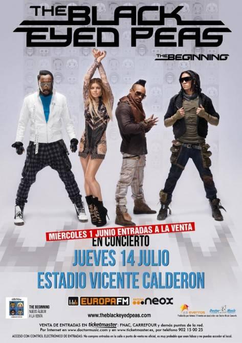 Cartel Black Eyed Peas concierto en Madrid