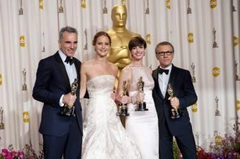 Day-Lewis, Jennifer Lawrence, Anne Hathaway y Christoph Waltz