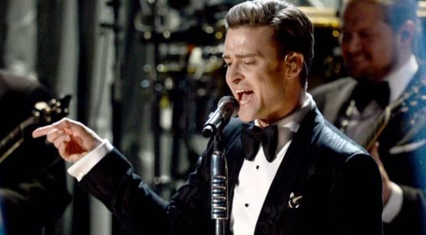 Justin Timberlake durante su actuación en los Grammy 2013