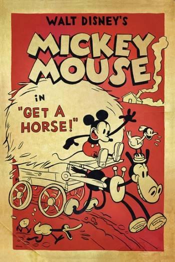 """Cartel de """"Get a horse!"""" (2013) con Mickey Mouse"""