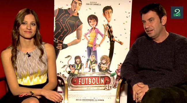 """Imagen de Michelle Jenner y Arturo Valls durante la entrevista por """"Futbolín"""""""