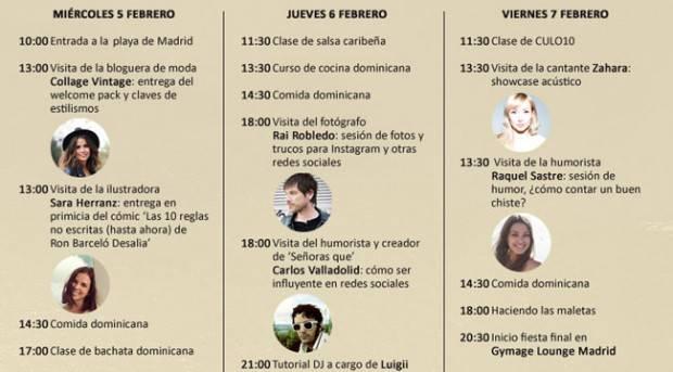 Planning de actividades en el Cielo de Madrid po Ron Barceló Desalia 2014