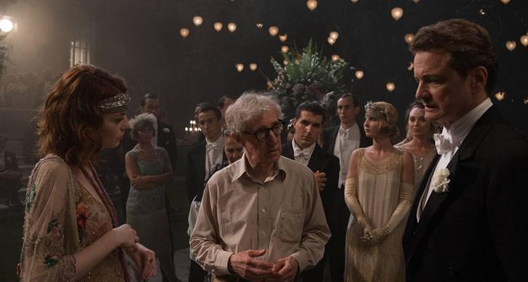 Imagen de Woody Allen, Colin Firth y Emma Stone en el rodaje 'Magia a la luz de la luna'