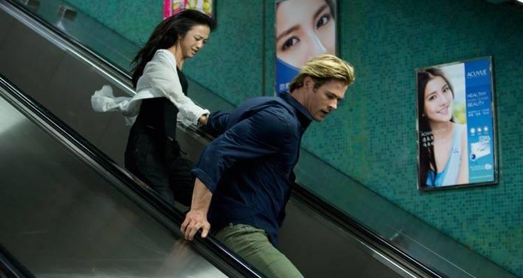 """Tang Wei y Chris Hemsworth en la película """"Blackhat (Amenaza en la red)"""""""