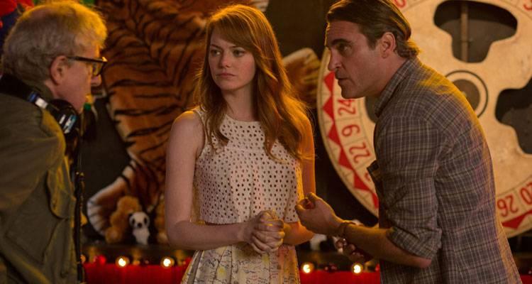 Emma Stone y Joaquin Phoenix durante el rodaje de 'Irracional man' (2015) con Woody Allen