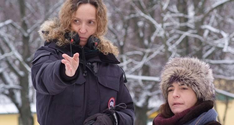 Nora Navas y Daniela Féjerman en el rodaje de la película 'La adopción' (2015)