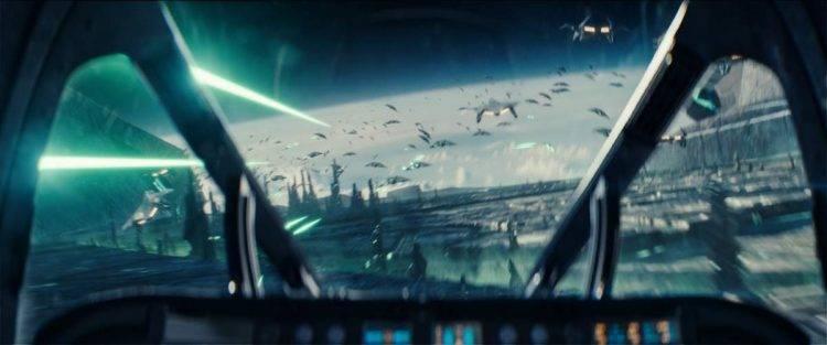 Imagen de la guerra entre naves alienígenas y humanas