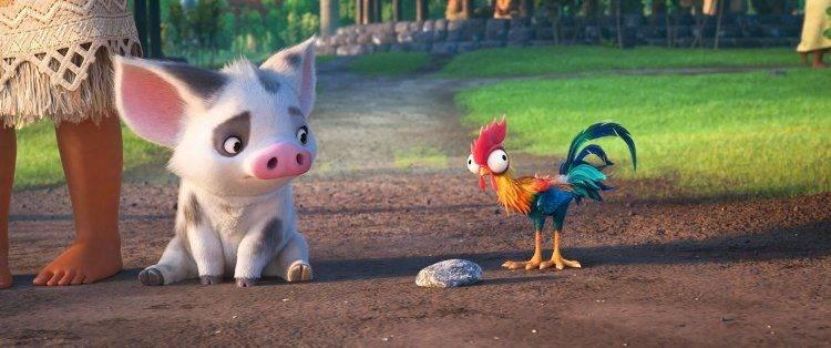 Las mascotas de Vaiana: Pua,el cerdito, y Heihei, el gallo
