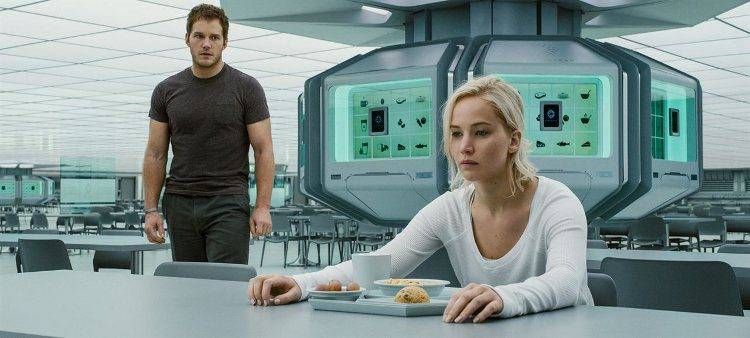 Chris Pratt y Jennifer Lawrence en el espacio