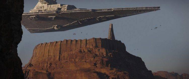 Fotografía de un destructor imperial en la película Rouge One