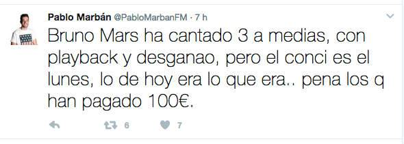 Pablo Marbán, locutor de Hit Fm, relatando lo ocurrido en el concierto Bruno Mars de la sala Shoko de Madrid