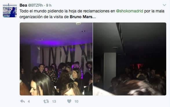 @BTZRh cuenta en twitter la reacción del público que se sintió engañado en el concierto de Bruno Mars de la sala Shoko Madrid