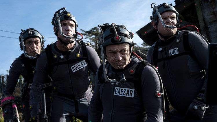 Andy Serkis y Terry Notary durante el rodaje de la película