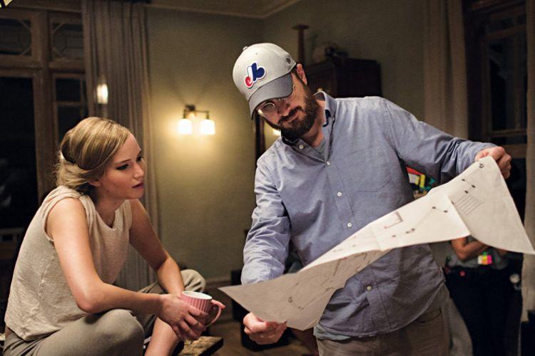 Jennifer Lawrence y el director Darren Aronofsky en el rodaje
