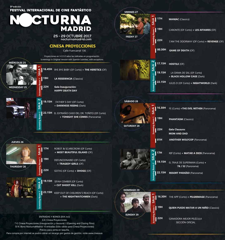 Programación del Festival Nocturna 2017 en Cinesa Proyecciones