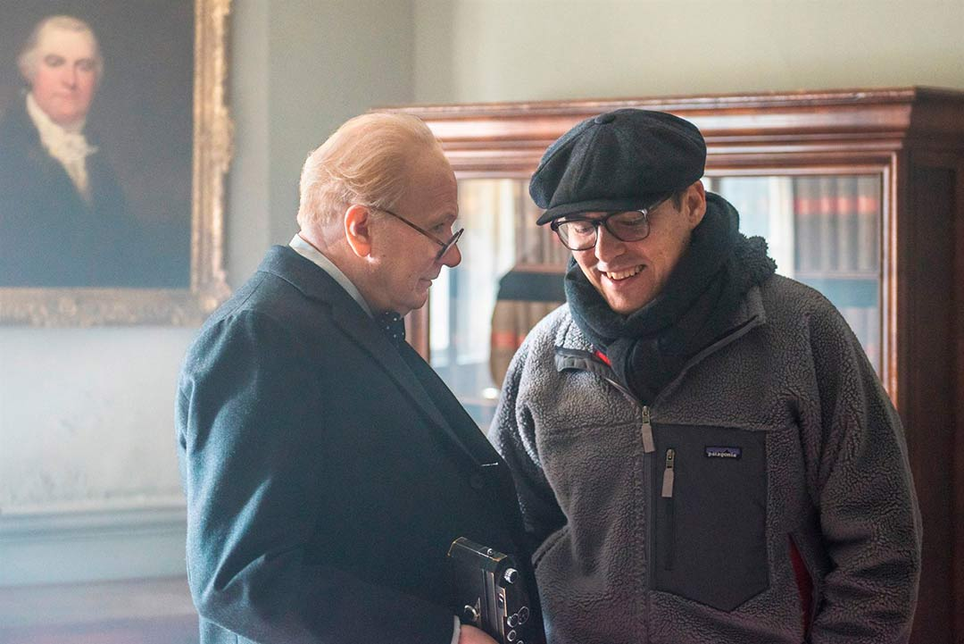Gary Oldman y Joe Wright en el rodaje de la película