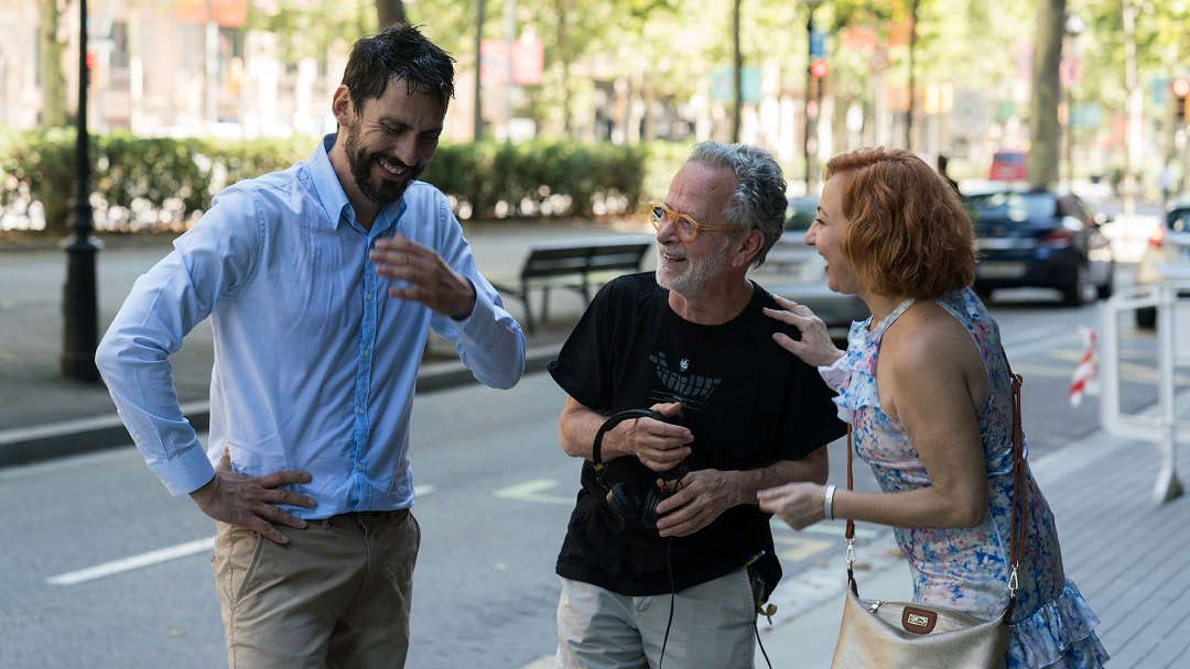Paco León, Carmen Machi y Fernando Colomo durante el rodaje
