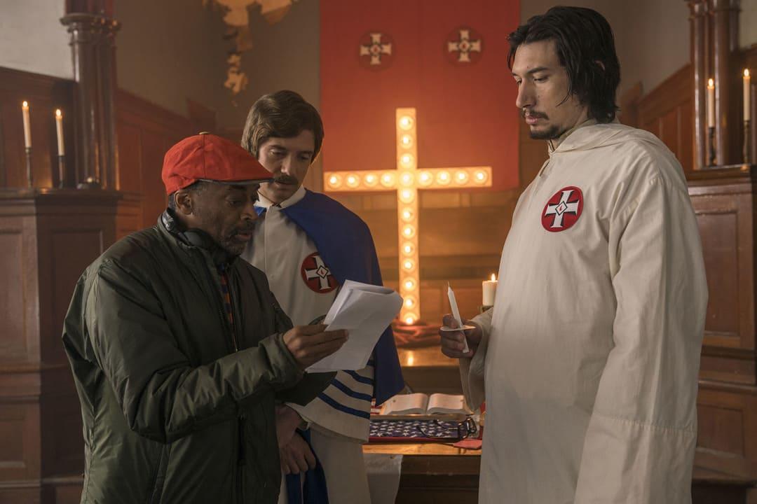 Adam Driver, Spike Lee y Topher Grace durante el rodaje