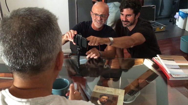 El director Hernán Zin durante el rodaje