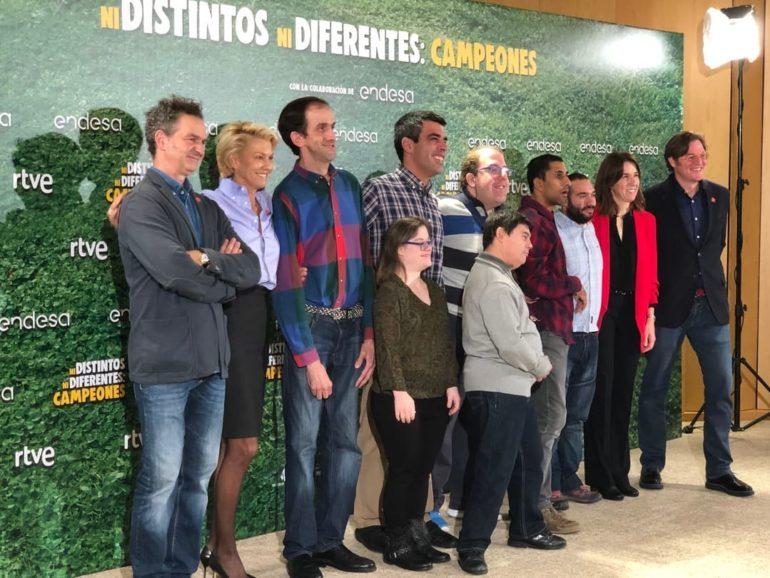 """Los protagonistas de la película """"Campeones"""" durante la presentación del documental"""