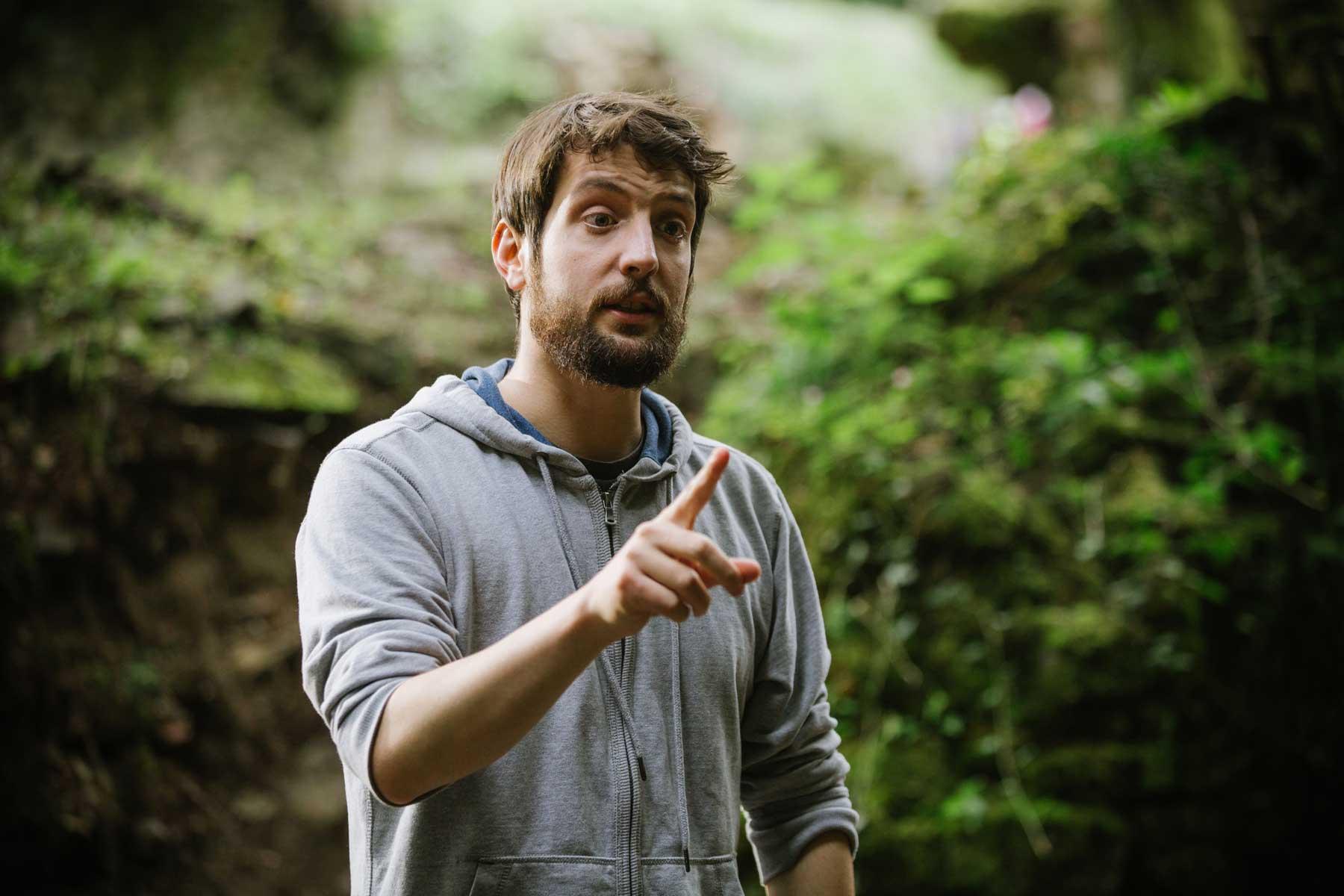 Jon Mikel Caballero en el rodaje de El increíble finde menguante