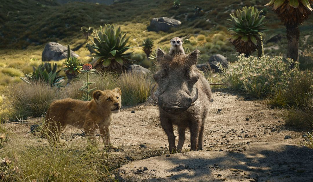 Imagen de la película remake El Rey León en su versión 2019 (Simba, Timón y Pumba)