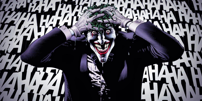 El Joker aparece centrado en la imagen, se lleva las manos a la cabeza, detrás suyo, aparecen en blanco sobre negro unas letras que vienen a representar la risa que el personaje está experimentando en ese momento