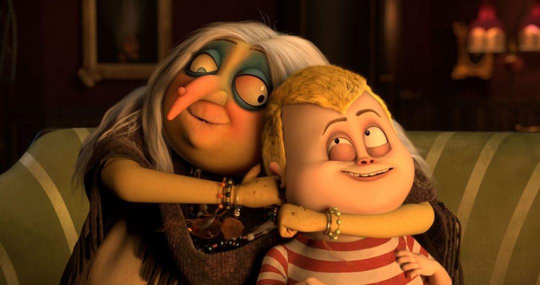 La abuela Addams y Pugsley