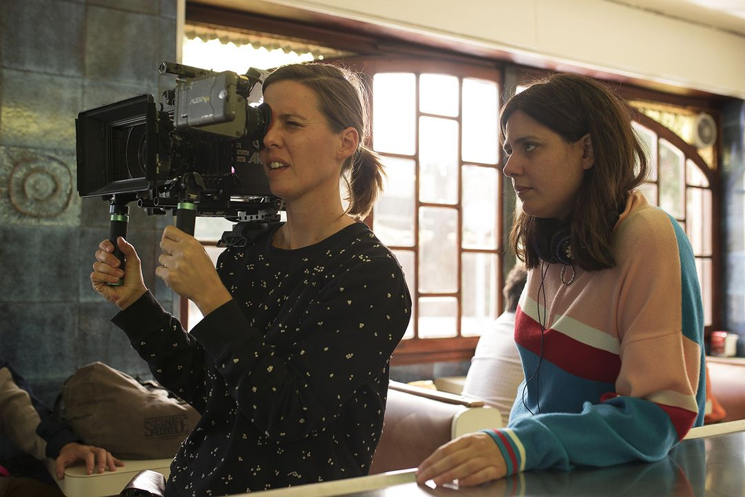 Belén Funes durante el rodaje de la película