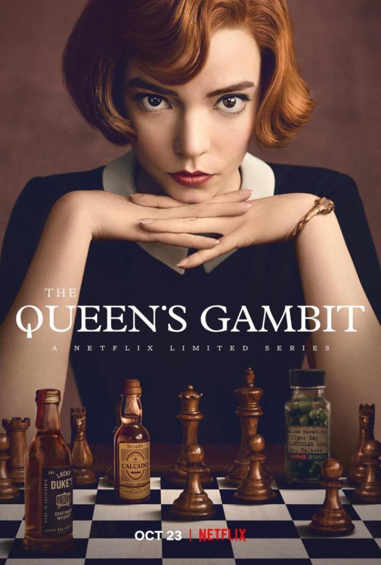 Cartel de la serie Gambito de dama de Netflix